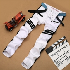 The new stitching fashion tide brand white hole jeans male Slim straight trousers white 28