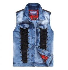 The new wave of men and women washed stitching casual cowboy vest blue l