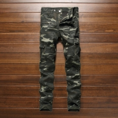 The new tide brand military wind tight pockets more zipper camouflage stitching denim pants feet as the picture 32