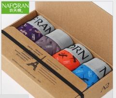 Men's underwear shorts cotton cotton four angle U convex male boxer waist pants breathable underwear 1 boxs,4 colors l
