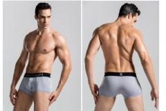 8 colors optional authentic Korean men's boxer briefs U four silk like convex angle pants grey XXL
