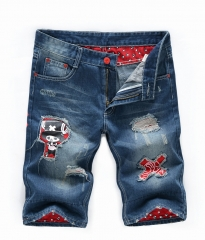 Summer patch holes in jeans men's pants Slim youth tide men flanging jeans as the picture 28