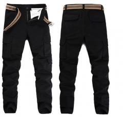 Men 's small straight Slim multi - pocket trousers uniform men' s fashion stretch trousers black 28