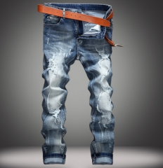 Europe and the United States hole holes in jeans men tide beggar stretch denim trousers as the picture 28