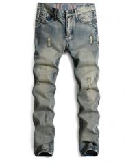 Men 's jeans straight hole tide Slim jeans men nostalgic pants as the picture 29