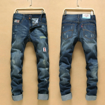 Tide men personality patch hole jeans men retro nostalgia jeans Slim straight men trousers as the picture 34