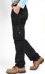 Cotton casual pants loose multi - pocket uniforms outdoor trousers men 's uniform sports trousers black 28