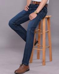 Men's jeans straight Slim jeans Business elastic pants blue 29
