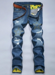 Tide trousers men's hole jeans Korean non-mainstream Slim straight jeans male as the picture 28