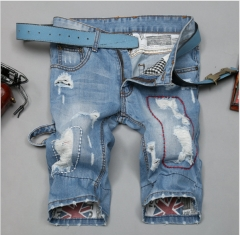 Summer thin section of jeans in the men's pants straight holes men's jeans light blue five pants as the picture 29