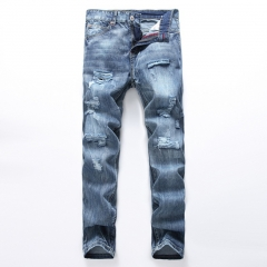 Hole men and straight denim jeans men slim men and boys pants pants as the picture 28