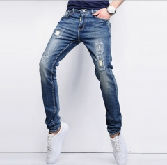 Cotton micro-stretch feet pants patch holes beggars pants Slim jeans male blue 28