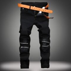 Black zipper decoration casual pants male paste skin Slim Straight tide men stretch slacks black 28