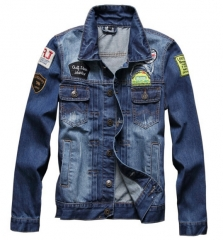The new hole men 's denim jacket denim jackets Slim single - breasted lapel jacket as the picture m