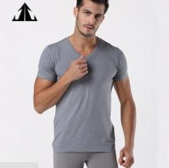 Jack Claude V Collar Men's Short Sleeve T-Shirt Men's Black Youth Squares Pure Color gray s/170cm
