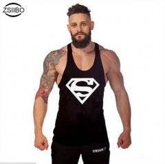Superman printing fitness vest summer sweat loose large size sports vest black m