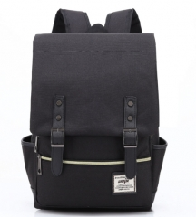 Personality retro outdoor canvas big travel backpack fashion shoulder bag black 14 inches