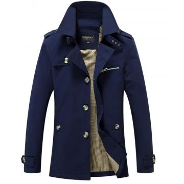 Cotton new men's thin models Casual jacket men Long windbreaker coat dark blue l
