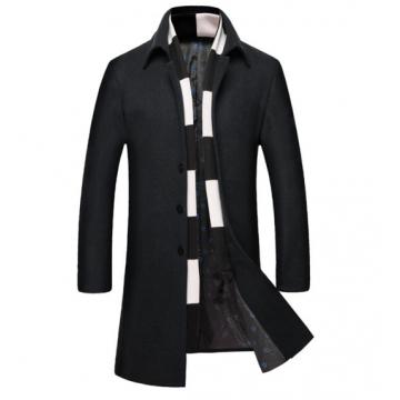 The new men's woolen coat winter plus cotton thicken men's windbreaker black l