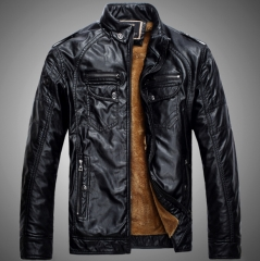 Autumn and winter men's leather plus velvet high-grade warm male large yards leather leisure leather black l