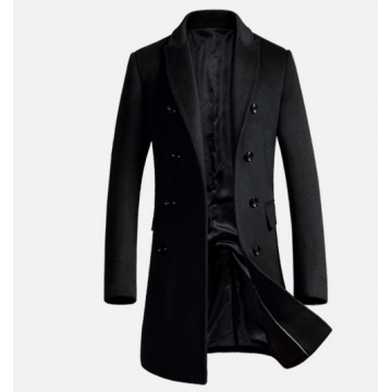Autumn and winter new wool coat long section Korean version of the double-breasted young male jacket black m