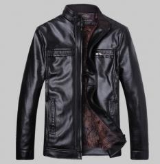 Middle - aged men 's cashmere collar PU leather men 's hot jacket black l