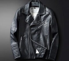 New product men's leather jacket for young locomotives PU leather lapel jacket casual men's wear black m