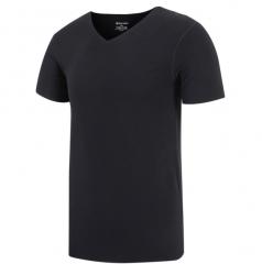 Men's T-shirt V collar high-elastic semi-sleeve plain coloured tunic black l