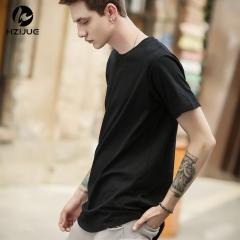 Men's short sleeve t-shirt summer new trend men's cotton blank men's round neck T-shirt black s
