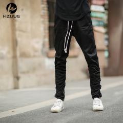 Trendy jogging pants elastic stretch pants trousers zipper casual pants black 30