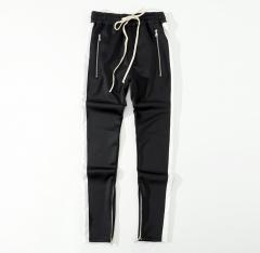 Retro sports pants trousers inside the zipper hit color stripe men's casual pants black s