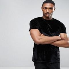Summer new men's casual solid color crew neck short sleeve T-shirt velvet men's t-shirt black s