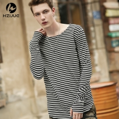 Men's new striped long-sleeved t-shirt male high-fashion cotton t-shirt as the picture s