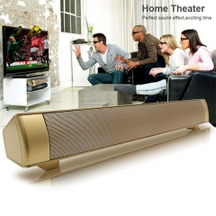 Super Bass Sound bar Speaker Wireless Bluetooth Speakers  TF AUX Hands-free Calls for Computer Phone gold 40*6*6cm