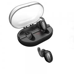 True Wireless Bluetooth Earphone Stereo Earbuds IP67 Waterproof Headphones with Charging Box mic black