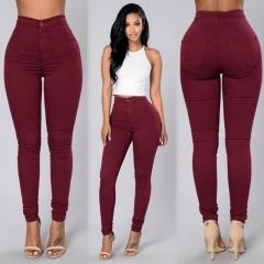 Ladies Waist Stretch Skinny Jeans Wine Red M