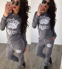 Crown printing T-shirts long sleeved sweater suit Deep Grey M