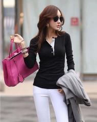 New fashion ladies cotton shirt Korean fashion slim V T-shirt black xl