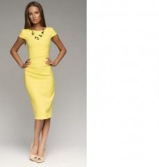 Trendy short-sleeved dress 6633# yellow m