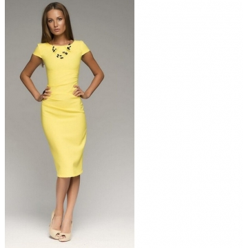 Trendy short-sleeved dress 6633# yellow s