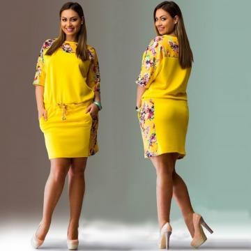 Fashion flower print dress 9019# yellow l