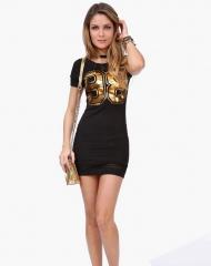 Round neck short sleeve Slim pack hip prints B826# black 3xl