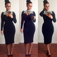 Bursts of sequins hot film V chest dress 161# black m