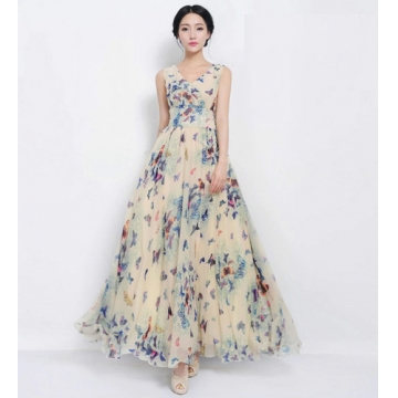 Slim Bohemian Chiffon Beach Dress 6650# blue s