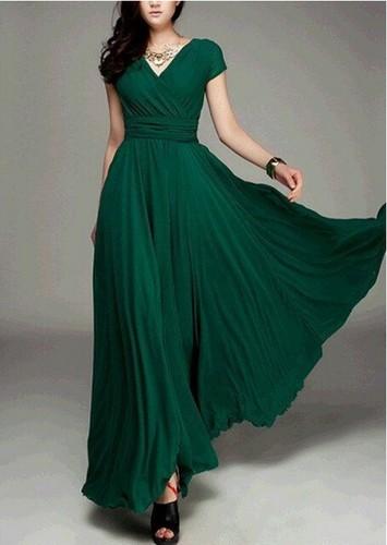 Summer V collar Bohemia wind waist dress 9203# atrovirens xl