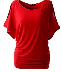 Women's Boots Sexy Bats Short Sleeve T-Shirt # 6384 red s