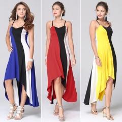 New women stitching striped dress # 9272 yellow 2xl