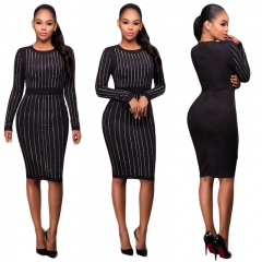 Hot style sexy slim long-sleeved dress CMS9659 black s