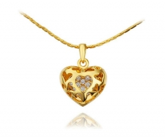 18K gold plated 925 silver fashion silver, diamond-studded heart-shaped necklace god one size