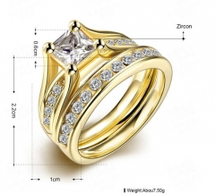 18K plated yellow gold, zircon ring man GOD